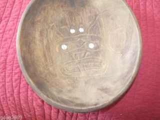 Vintage Northwest Native American  Bear Wolf  Wooden Bowl,  Abalone Inlayed photo