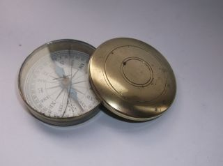 Antique Brass Pocket Compass (cracked Glass) photo
