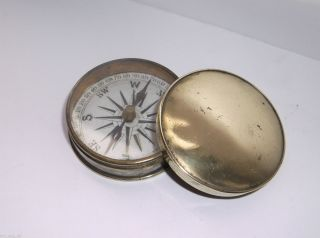 Antique Brass Pocket Compass photo