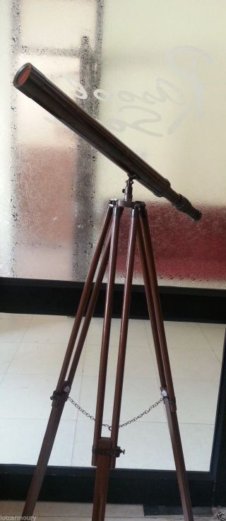 Large Harbor Master Brass Telescope With Wooden Stand photo