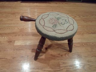 Vintage - Antique Farm Milking Stool With Handle & Three Legs 11.  5
