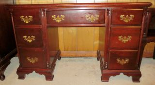 Antique Solid Mahogany Kneehole Desk By Hungerford With Brass Hard