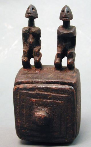 Dogon Couple African Ancestral Wood Box Container Statue Figure Mali Ethnix photo