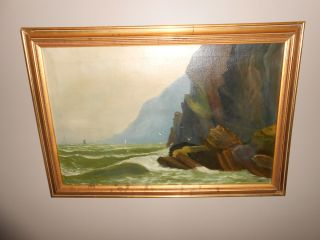 Antique Painting Coastal High Cliffs Dramatic Gulls Ships Signed T Bailey photo
