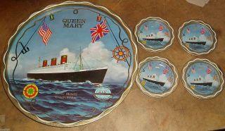 C1970 Rms Queen Mary Ocean Liner Nautical Transport Souvenir Tin Tray & Coasters photo