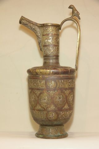 Very Large Near Eastern Islamic Safavid Ottoman Silver Inlaid Ewer 18th C photo
