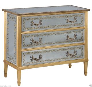 Chest Of Drawers Table French Hand Eglomise Silverleaf On Glass Solid Walnut New photo