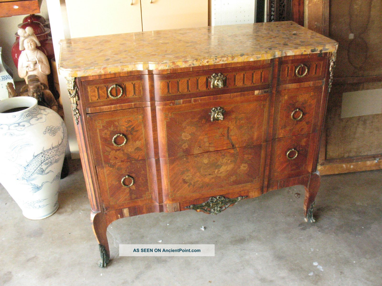 Old Estate French Furniture Display Chest Hard Wood Stand Table Bronze Ormalu 1900-1950 photo