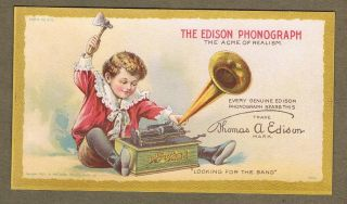 The Edison Phonograph National Phonograph Co Orange New York 1901 Trade Card photo