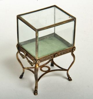 Antique Silver 800 Martin Mayer Claw Foot German Miniature Glass Display Case photo