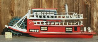 Big Antique Folk Art Handmade Wooden Steamboat Model Ohio River Sternwheeler photo