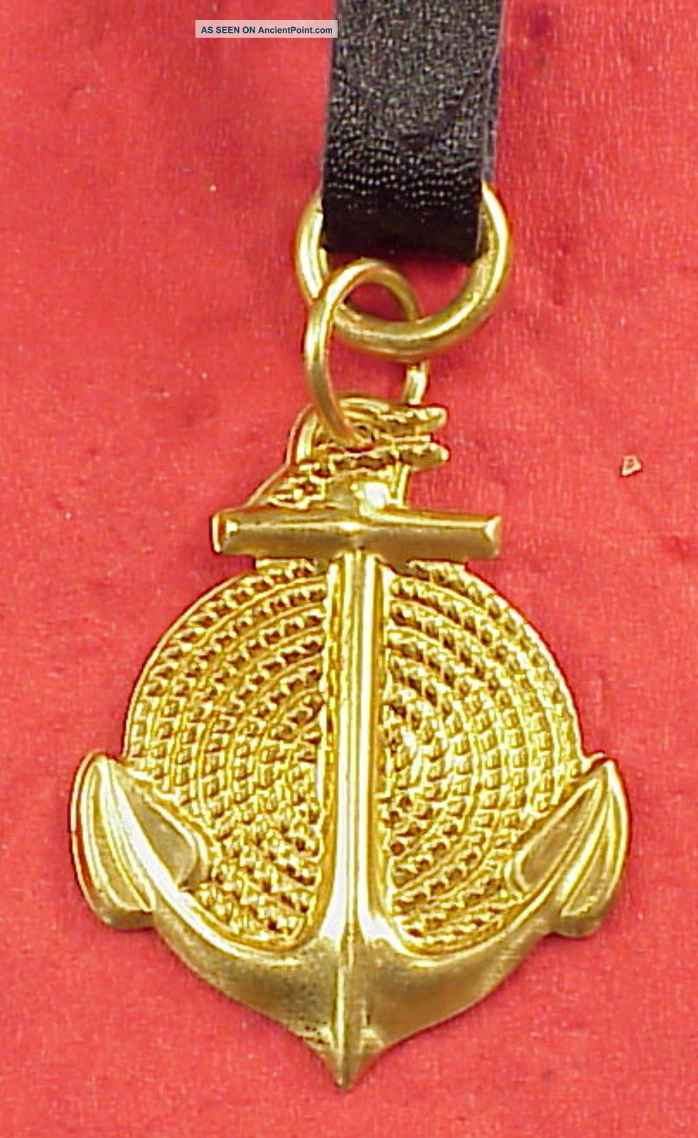 Vintage Brass Ships Anchor Coiled Rope 1 1/4in Pocket Watch Fob Or Keychain Anchors photo