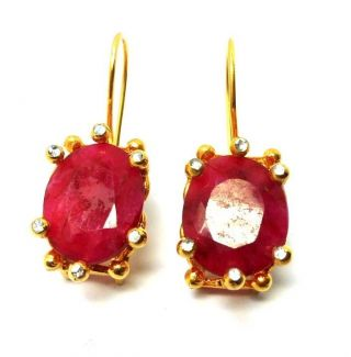 Rose Cut Diamond And Ruby Gold Plated Turkish Jewelry Earrings photo