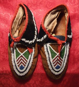 Antique Iroquois American Indian Pony Beaded Moccasins,  Ca 1900.  Look photo