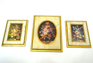 Vintage Italy Antiqued Florentine Wall Plaque Floral Shabby Gold Print Chic Set photo