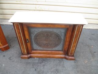 53067 Marble Top Credenza Curio W/ Etched Glass Door photo