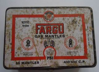 Old Vintage Fargo Gas Mantles Ad Litho Tin Box photo