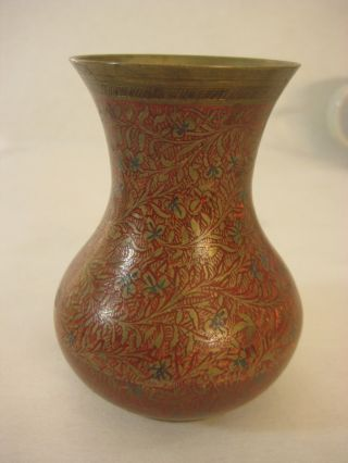 Old Vintage India Brass Detail Hand Chased & Wrought Small Vase,  4
