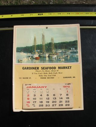 Antique Vintage Boats Ships Calendar 1972 Gardiner Maine Fish Seafood Market photo