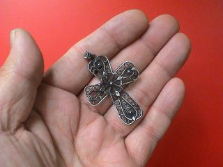 Gorgeous Large Antique Decorated Filigree Silver Cross Pendant,  19th Century Ad. photo