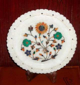 An Attractive Plate White Marble Inlay Handicraft photo