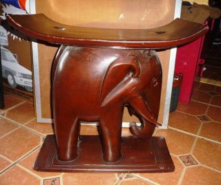 Rare Fanti Tribe Carving Elephant Seat (see Link To Antique Roadshow Example) photo