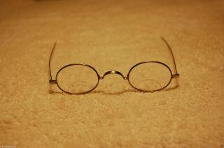 Antique Vintage Civil War Era Eyeglasses Oval Spectacles Bifocal Straight Temple photo