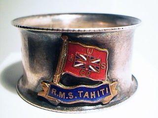 Rare Museum Antique 1912 R.  M.  S.  Tahiti Steam Ship Napkin Ring Uss Co New Zealand photo