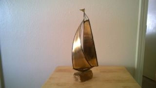Antique Bronze Sailing Ship Boat photo