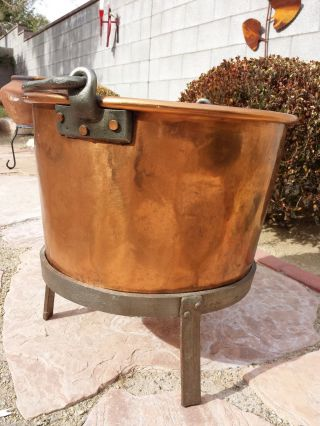 Antique Huge Copper Cauldron Forged Iron Stand Refinished Late 1800s photo