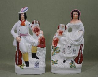19thc Staffordshire Pottery Figures,  Musicians English Springer Spaniel Dogs photo
