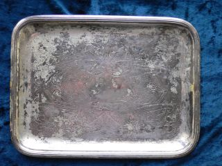 Antique Christofle Silver Plated Tray Second Period Art Nouveau Flower Patern photo