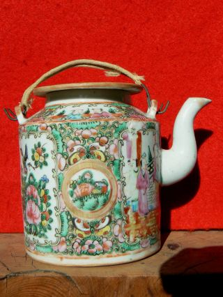B2901 Antique Chinese Export Rose Medallion Teapot 4 - 5/8