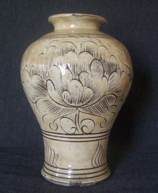 Antique Chinese Cizhou Ware Vase Old Stoneware Porcelain Jin Dynasty Jar China photo