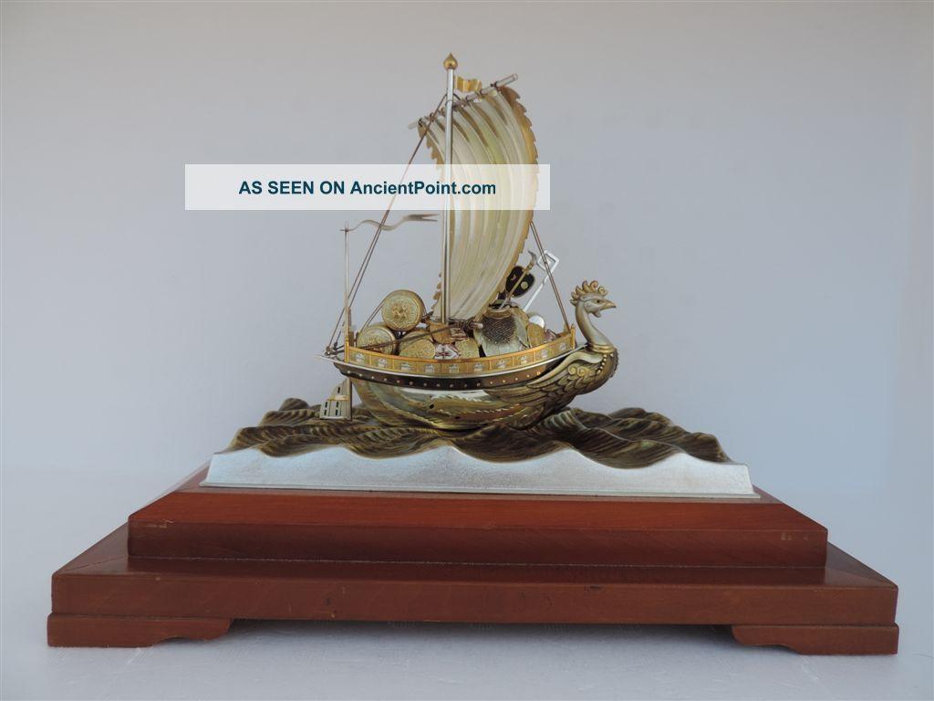 Exquisite Quality Japanese Sterling Silver Enamel Phoenix Ship Seki 215gr 7.  5 Oz Asia photo