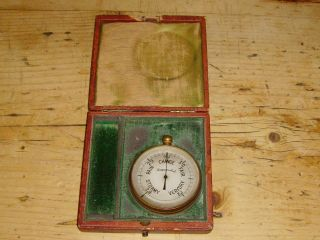 A Cased Victorian Pocket Barometer C1880 photo