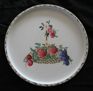 Vintage Hand Painted Fruit Round White Tole Tray Plums Grapes Flowers Basket photo