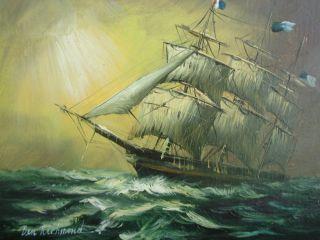 Whoa Oil On Board Ben Richmond Tall Ship Schooner On The High Seas photo