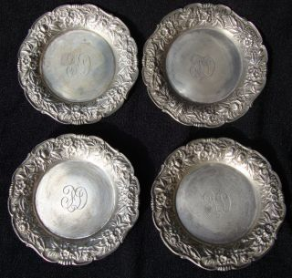 S.  Kirk Sterling Silver Of 4 Repousse Butter Pats 160 Grams photo