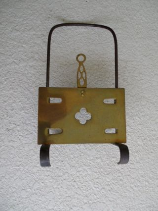 Antique English 19th Century Old Brass Sliding Brass Trivet Vintage photo