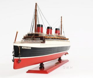 Ss Normandie French Ocean Liner Wooden Model Cruise Ship 32