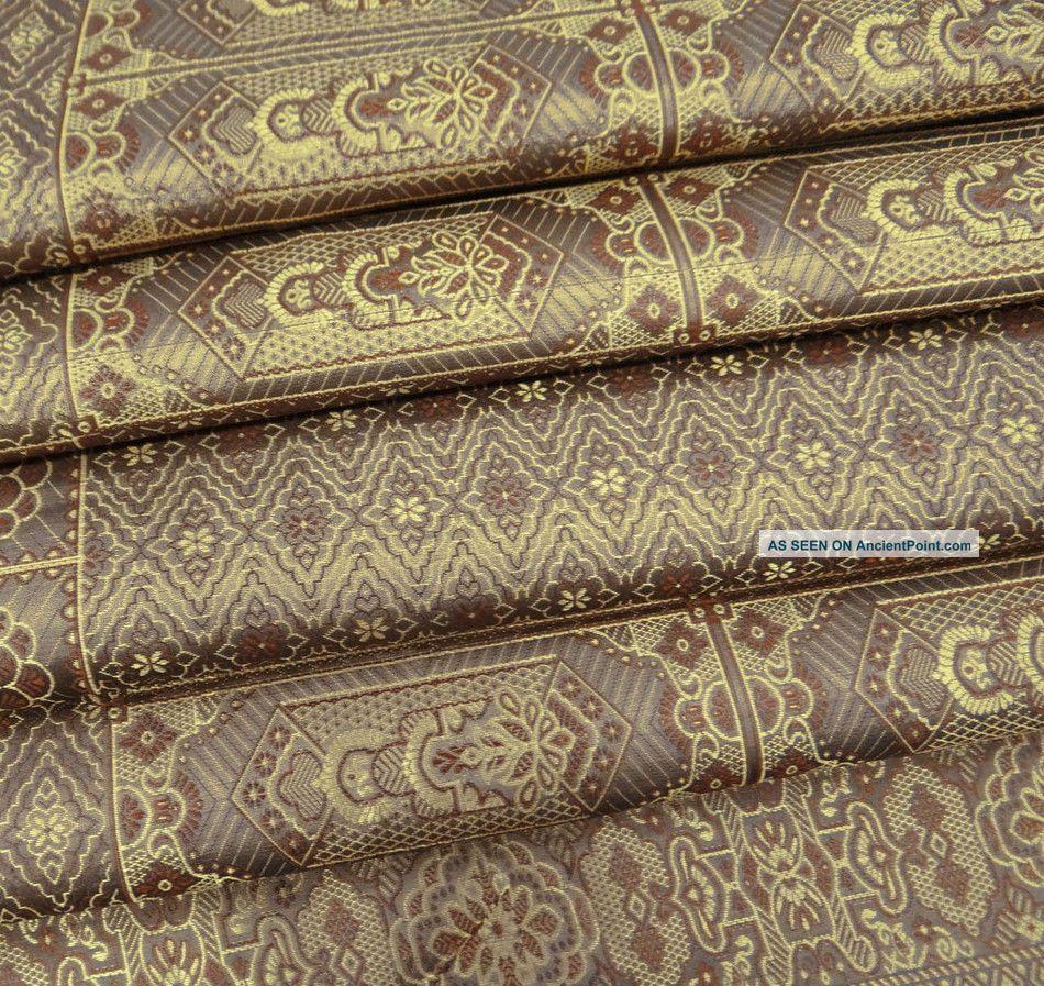 Vintage Art Silk Fabric Sari Thread Weaving Indian Craft Art Deco Brown 5yd Other photo