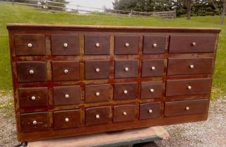 Antique Country Store Counter 24 Drawer Nut & Bolt Cabinet C1880 Old Red photo