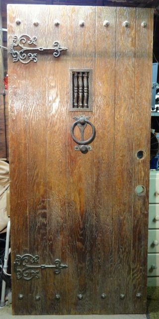 Antique 1800 ' S Rustic Door With Brass Hand - Forged Hardware (speakeasy photo