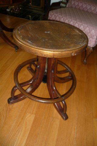 Antique Telephone Operators Stool/seat Bentwood Cane Seat Piano Stool - Hhm20 photo