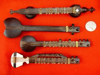 Antique Folk Art Minstrel Instruments Wood Brass Medieval Renaissance Sitar Yaz photo