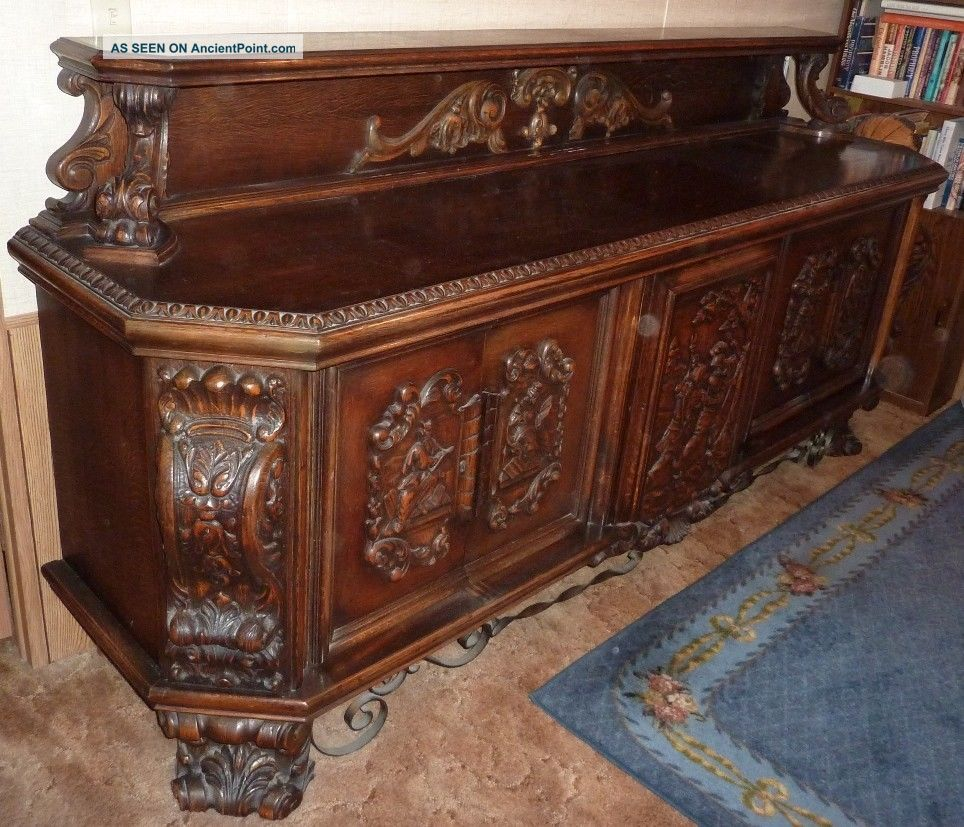 Antique Sideboard,  Highly Carved,  Religious Images,  Late 1800 ' S Early 1900 ' S 1800-1899 photo