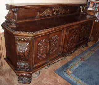 Antique Sideboard,  Highly Carved,  Religious Images,  Late 1800 ' S Early 1900 ' S photo