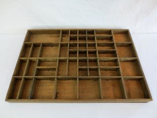 Antique Wood Printer ' S Type Set Tray Compartment Shadow Box 16.  5