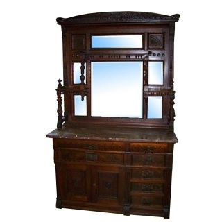 7227 Antique Eastlake Walnut Sideboard With Marble Top photo